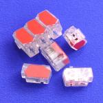 2way Push wire junction connector clear with red plate