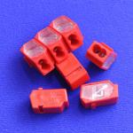 2 Way Push wire Junction Connector with Red housing and clear plate