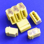 4 Way Push wire Junction Connector with Yelow housing and clear plate